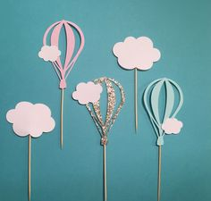 Hot Air Balloon Cupcake Toppers   Cloud Cupcake Toppers   Baby Shower Cupcake Toppers   Baby Boy Baby Girl Cupcake Toppers by PaperLyss on Etsy https://www.etsy.com/listing/454199174/hot-air-balloon-cupcake-toppers-cloud