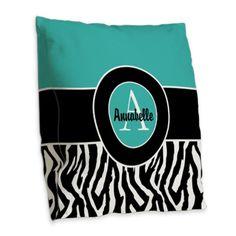 Teal Zebra Monogram Personalized