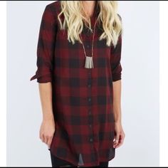 BB Dakota Buffalo Plaid Shirt Dress Fabric: 100% polyester Care: Hand wash cold, lay flat to dry or dry clean Fit tip: Fits true to size BB Dakota Tops Button Down Shirts