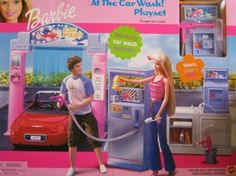 Barbie At The Car Wash! Playset is a 2001 Mattel production. Model #47810. CONTENTS included in the box: Spray Pump Unit Spray Gun Cabinet w/Sink Archway Unit w/Air Freshener Dispenser Turning Lig...