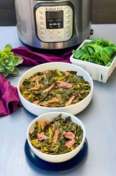 Instant Pot Southern Collard Greens is a quick and Instant Pot Collard Greens Recipe, Cooking Collard Greens, Southern Collard Greens, Instant Pot Pressure Cooker, Pressure Cooker Recipes, Smoked Turkey Wings, Turnip Greens, Cooking Bacon, Country Ham