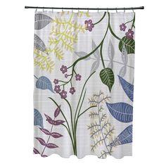 71 x 74 Botanical Print Shower Curtain