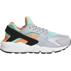 NIKE Air huarache trainers ($135) ❤ liked on Polyvore featuring shoes, sneakers, nike, wolf grey orange, perforated shoes, rubber sole shoes, grey shoes, nike shoes and perforated sneakers
