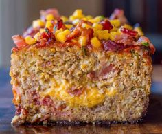 """""""Bacon Cheeseburger Meatloaf topped and stuffed with cheddar cheese and bacon is the ultimate meatloaf. Makes amazing sandwiches too. Bacon Cheeseburger Meatloaf is one of the first recipes I made for my now husband when we moved in together. Bacon Cheeseburger Meatloaf, Meatloaf Burgers, Cheese Stuffed Meatloaf, Best Meatloaf, Meatloaf Muffins, Cheeseburger Casserole, Big Mac, Paula Deen, Beef Dishes"""