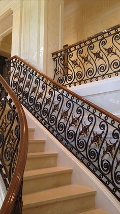 Featured Metalwork and Custom Fabrications by M Cohen and Sons Wrought Iron Stair Railing, Metal Stairs, Staircase Railings, Modern Stairs, Staircase Design, Banisters, Staircases, Interior Stair Railing, Balcony Railing Design