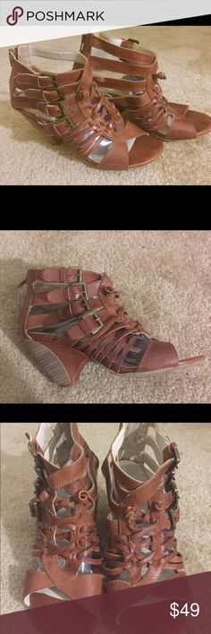 Gorgeous BOUTIQUE 9 Leather WEDGE caged  sandals Great gorgeous pair of Burberry colored leather caged sandals - the color is beautiful and real leather ONLY WORN ONCE no box in great condition zips for easy on and off YOU WILL LOVE TO ADD THESE TO YOUR SHOE COLLECTION YOU CAN WEAR THESE WITH JUST ABOUT ANYTHING!! Boutique 9 Shoes Wedges