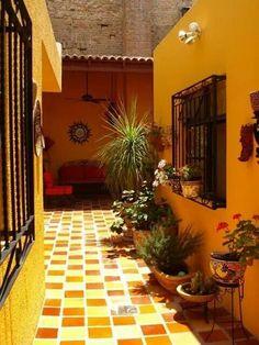 spanish Courtyard, Mexican twice baked Saltio tile on floor. Mexican Courtyard, Mexican Patio, Mexican Hacienda, Mexican Home Decor, Hacienda Style, Mexican Style, Spanish Courtyard, Mexican Colors, Courtyard Gardens