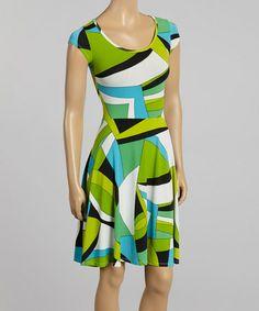 Loving this Blue & Green Geometric Scoop Neck Skater Dress on #zulily! #zulilyfinds
