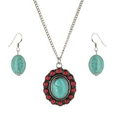 Silver Strike Women's Turquoise Pendant Earring and Necklace Set