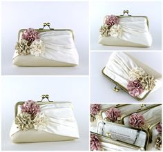 Bridal clutch Roses Silk Clutch in Ivory wedding clutch