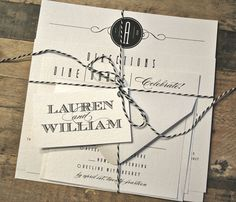 Wesson Vintage Wedding Invitation Suite with Bakers String Tie Band and Tag - Black and White (colors/text customizable)