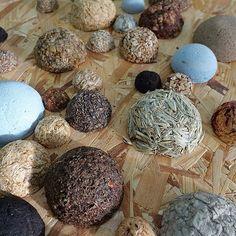 Deze halve bollen die ik in 2015 maakte herinneren mij nog dagelijks aan de schoonheid en de mogelijkheden van diverse plantaardige materialen. Ze inspireren mij om verder te gaan met experimenteren en beeldende kwaliteiten te onderzoeken. #angeliquevandervalk #vegetableworks #art #abstractart #3d #hemisphere #material #materials #dried #texture #natural #starch #eco #experiment #experimental  #pattern #form