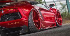 Liberty Walk Lamborghini Aventador Roadster Sees Red Everywhere #Japan #Lamborghini