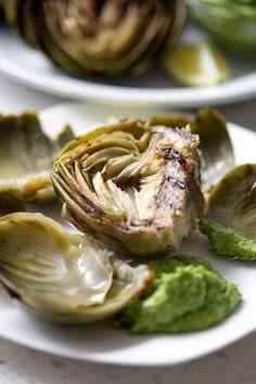 Grilled Artichokes & Cilantro Avocado Dip | Bon AIPpetit