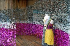 Hanging circle garlands! Oh the colour. Anthropologie window displays can't be beat.