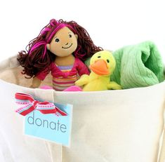 Organizing idea:  Set up a donation station in your kids rooms. Drop in anything your child no longer needs or grows out of. When the bin is full, donate the items and start again!