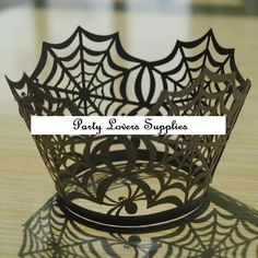 12 Halloween Cobweb Cupcake Wrappers for Party Decoration #PartySupplies #Halloween