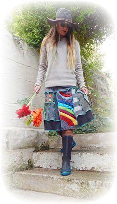 Rainbow Skirt Recycled Stretch Flared Grey Folk by TheTopianDen