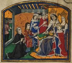 Anthony Woodville, Earl Rivers & William Caxton presenting the first printed book in English to Edward IV. The man wearing blue and ermine is possibly his brother Richard, Duke of Gloucester, later Richard III.