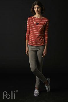 Polli new Merino long-sleeved top woven stripe koi
