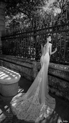 berta fall 2016 bridal beautiful deep v plunging neckline cap sleeves sheath wedding dress chapel train