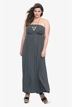 A mix of vertical, horizontal and diagonal stripes line-up to to make a trend-right, flattering maxi that you'll love all season long.