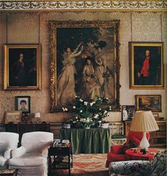 Chatsworth House - the eleventh Duke and Duchess of Devonshire. AD, December, 1979; photography by Derry Moore