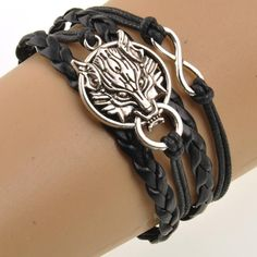 Promo Gift Charming Wolf Head Pendant Rope Chain Bracelete Just Pay the Shipping
