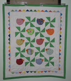 Grandma Ell Quilt Cupboard: Chubby chicks version with Prairrie Points. baby q...