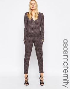 ASOS Maternity Jumpsuit In Tile Print With Cut Out Back