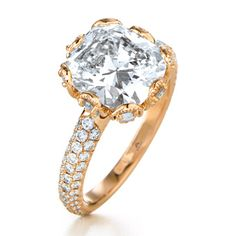 yellow gold and cushion cut, pave band