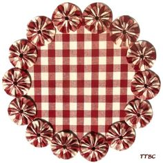"""11"""" Primitive COUNTRY RED Check VTG HOMESPUN Fabric YoYo Candle Mat Table DOILY 