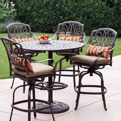 Elisabeth 5-Piece Antique Bronze Aluminum Bar Patio Dining Set