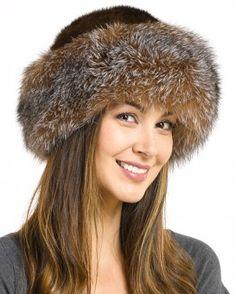 Raylene Crystal Fox Fur Roller Hat with Mink Top