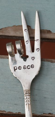 PEACE hand stamped Peace Sign fork Garden Art by VintageGardenArt, $12.99