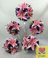 Artificial Silk Purple Rose flowers Light Pink Lilies/Tulip Wedding Bouquet Set