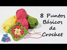 Basic Crochet: Como hacer 8 Puntos Basicos de Crochet Trapillo Curso de Crochet XXL Gan...