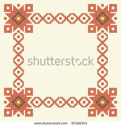 Embroidered good like handmade cross-stitch folks Romanian pattern
