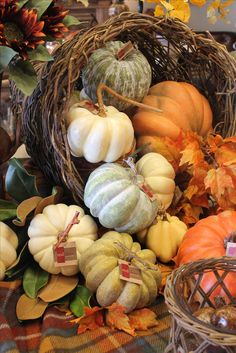 A tumble of beautiful pumpkins -- great sideboard idea from Red Door Home Store