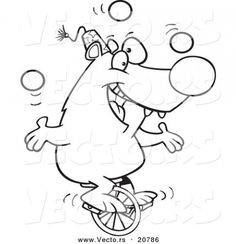 cartoon circus bear juggling ydoxw coloring pages for kids