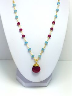 Aquamarine and red ruby agate wire wrapping necklace – Luzjewelrydesign