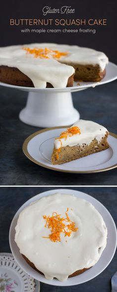 You'll be craving this gluten free butternut squash cake with maple cream cheese frosting all season long. Spicy, moist, and so tasty, you can't go wrong. Easy Gluten Free Desserts, Best Gluten Free Recipes, Gluten Free Cakes, Gluten Free Baking, Easy Desserts, Fall Recipes, Sweet Recipes, Delicious Desserts, Healthy Desserts