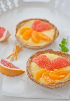 orange & grapefruit curd tarts More