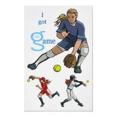 I Got Game girls women Softball Poster from I'm G Clothing