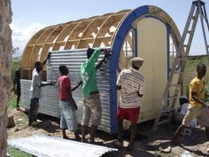 This is a slideshow showing the assembly of one of Shelter homes in Haiti. Cost effective, versatile and strong - these shelters provide real homes for . Arch House, D House, Tiny House Living, Sauna Infravermelho, Arched Cabin, Gypsy Wagon, Earth Homes, Digital Technology, Play Houses