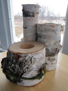 Birch Wood Centerpiece  Set of 3 for Weddings or by SewNina, $15.00