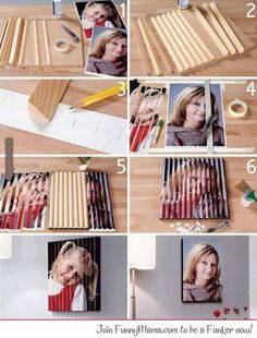 Two image illusion frame DIY - So Cool - any ideas where to get the triangle shaped wood pieces? Make them? :S