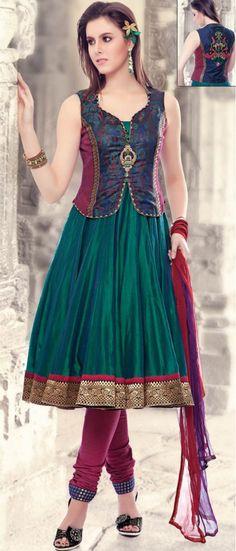 Teal #Green Chanderi Art #Silk Readymade #Churidar Kameez @ $222.89