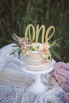 Love the simplicity of the cake and topper. Prettiest smash cake, Naked funfetti for a little girls first birthday Baby Girl 1st Birthday, First Birthday Photos, First Birthday Cakes, First Birthday Parties, Birthday Ideas, Birthday Gifts, Birthday Celebration, Girl Cakes, Cake Smash Girl