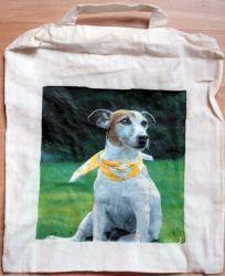 Hund mit Halstuch  http://bastelzwerg.eu/wunderschoene-Tragtasche-Hund-mit-buntem-Halstuch?source=2&refertype=5&referid=265
